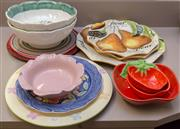 Sale 8310A - Lot 212 - A large quantity of colourful earthenwares including large bowls and plates