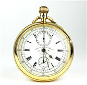 Sale 8414 - Lot 399 - A 19TH CENTURY 18CT GOLD OPEN FACE CHRONO MICROMETER  POCKET WATCH BY ENGLISH WATCH CO; centre seconds fly back chronograph with whi...