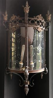 Sale 8568A - Lot 130C - A Gothic style solid bronze half lantern, converted to electricty and re-wired to Australian safety standards, H 75cm, ex Egypt, Cairo