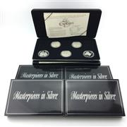 Sale 8618 - Lot 51 - Royal Australian Mint Masterpieces in Silver, five sets incl. The Explorers $5 coin edition 1993