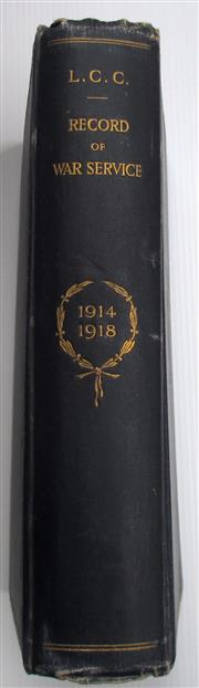 Sale 8639 - Lot 37 - London County Council Record Of Service in the Great War 1914-18 with a bookplate in memory of Pte G L Merritt.