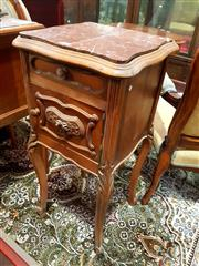 Sale 8693 - Lot 1018 - Early 20th Century French Walnut Bedside Cabinet, with rouge marble top, a drawer & door, on cabriole legs