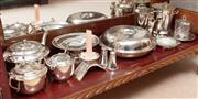 Sale 8926K - Lot 40 - A shelf lot of plated wares including entrée dish (D 26cm ), tea set, ice bucket and condiments