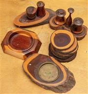 Sale 8984H - Lot 310 - A group of mulga wood including coasters, ashtrays and cruet sets