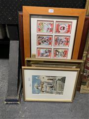 Sale 9008 - Lot 2099 - 3 Framed Paintings together with St George 2003 Framed Footy Cards (4)