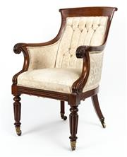 Sale 9015J - Lot 34 - An antique English mahogany William IV Library chair C: 1830. The collared back rail on swooping arms with scrolling terminals. The ...