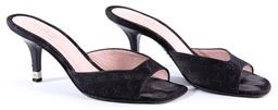 Sale 9132 - Lot 459 - A PAIR OF LOUIS VUITTON OPEN TOE HEELS, black sateen with monogram, kitten heel, size 35 1/2, with dust bags, care instructions and...
