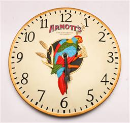 Sale 9128 - Lot 9 - A hand painted Arnotts wall clock (Dia 30cm)