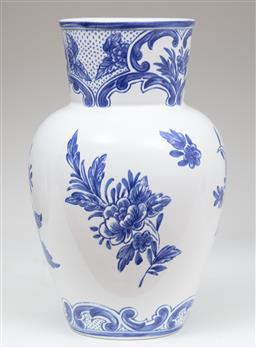 Sale 9134H - Lot 82 - A Portuguese blue and white pottery Tiffany& Co Delft vase Height x 22 cm
