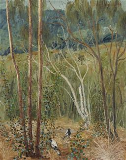 Sale 9161A - Lot 5017 - BARRY SKINNER (1940-2004) - Magpies in the Bush 75.5 x 60 cm (frame: 90 x 75 x 3 cm)