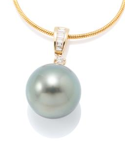 Sale 9177 - Lot 375 - AN 18CT GOLD TAHITIAN PEARL AND DIAMOND PENDANT; featuring a 15.1mm round cultured pearl of fine colour with high lustre surmounted...