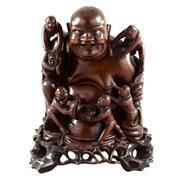 Sale 8000 - Lot 321 - A Chinese carved boxwood figure of Hotei surrounded by children on a separate carved stand.