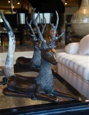 Sale 7984 - Lot 71 - Pair of bronzed deco revival models of deer at rest. Height 70cm