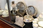 Sale 8112 - Lot 96 - Silver Plated Kerosene Lamp with Other Wares incl Trays