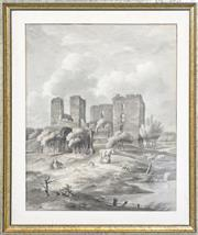 Sale 8599A - Lot 11 - Early 19th Century Dutch School - Milkmaid in the Foreground of a Castle Ruin 40 x 32cm