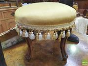 Sale 8428 - Lot 1033 - Antique Style Beech Foot Stool, with yellow stassled upholstery