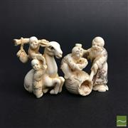 Sale 8540N - Lot 18 - A Selection of Chinese Figural Ivory , each with stained highlights (2)