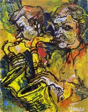 Sale 8563T - Lot 2075 - Arthur James - Saxophone, mixed media, 21 x 16.5cm, signed lower right