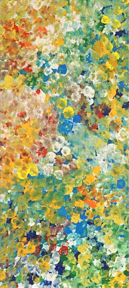Sale 9180A - Lot 5077 - JANET GOLDER KNGWARREYE (1973 - ) Yam Flower acrylic on canvas 95 x 42 cm (stretched and ready to hang) certificate of authenticity ...
