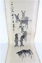 Sale 8957 - Lot 31 - A Chinese Scroll of Donkeys with calligraphy and red seal,   top of frame damaged, H135cm,  W32cm  ( image only)