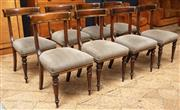 Sale 8994H - Lot 19 - Set of eight well upholstered Georgian style rail back dining chairs, the backs with scrolls and gilt highlights -