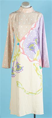 Sale 9090F - Lot 36 - A STINE GOYA FLOATY MAXI DRESS; in pastel colours with long bell sleeves and high neck, Size S