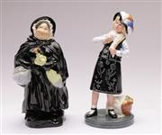 Sale 9070 - Lot 29 - An Early Doulton Figure of Sairey Gamp (chip to umbrella) Together with Pearly Girl