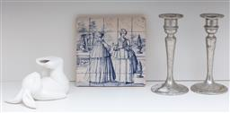 Sale 9134H - Lot 89 - A small group of wares including a decorative blue and white tile, a pair of candlesticks and a rabbit (rabbit has broken feet.