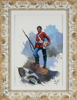 Sale 9155 - Lot 2086 - PETER HILL Portrait of a British soldier from the Anglo Zulu War, 2014 gouache 41 x 28 cm (frame: 58 x 45 x 4 cm) signed and dated l...