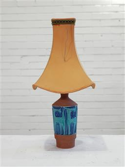 Sale 9151 - Lot 1020 - Blue glazed Bitossi table lamp (h:65cm)