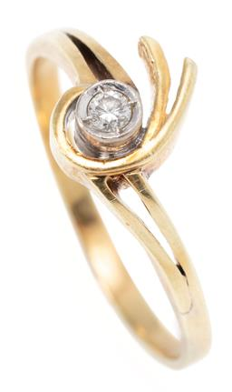 Sale 9164J - Lot 440 - A 14CT GOLD DIAMOND RING; set with a round brilliant cut diamond of approx. 0.075ct between split wrap around shoulders, size R, wid...