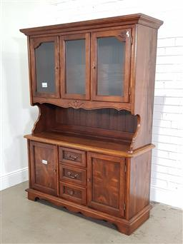 Sale 9183 - Lot 1085 - French style buffet and hutch  with marquetry front doors (h:294 x w:153 x d:54cm)