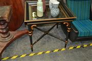Sale 8115 - Lot 1017 - Glass Top Timber Occasional Table On Turned Legs