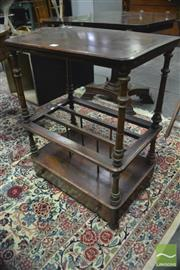 Sale 8359 - Lot 1067 - Victorian Figured Walnut Canterbury Whatnot, the top shelf on turned supports, above dividers & a drawer