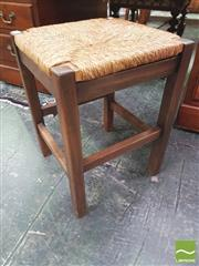 Sale 8428 - Lot 1038 - Beech Stool, with rush seat
