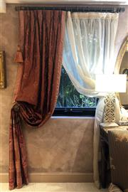 Sale 8568A - Lot 63A - An associated pair of bespoke curtains, each drop 320cm x W 62cm, consisiting of two Malaysian hand embroidered silk examples (made...
