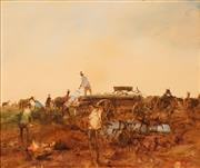 Sale 8616 - Lot 548 - Hugh Sawrey (1919 - 1999) - Packing Up (The Drovers Camp), W. QLD 29.5 x 34cm