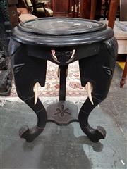 Sale 8760 - Lot 1021 - Ceylonese Ebony or Ebonised Pedestal, with three elephant supports (missing part of one head) set probably with boars tusks