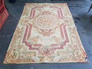 Sale 8774 - Lot 1054 - Aubusson Type Tapestry, with floral medallion, spandrels & main border, in cream and red tones