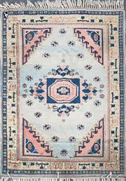 Sale 8839 - Lot 1323 - Turkish Wool Carpet with Central Medallion & Scattered Flowers in Pastel Tones (223 x 176cm)