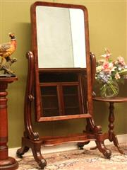 Sale 8925H - Lot 4 - An antique mahogany full length cheval dressing mirror, standing on carved base with castors., Height 150.5cm, Width 78cm, Depth 55cm