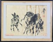 Sale 8913C - Lot 12 - Framed Chinese Picture featuring donkeys 50cm x 40cm