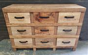 Sale 8951 - Lot 1010 - Industrial Timber Chest of Nine Drawers in Natural Finish (H:110 x W:148 x D:50cm)