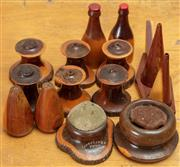 Sale 8984H - Lot 312 - Five pairs of salt and pepper shakers in mulga wood together with two bottle cap openers and two pin cushions.