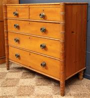 Sale 8994H - Lot 66 - A European chest of five drawers, the outer pillars and upper cornice carved in the faux bamboo manner   H: 102 x W:...