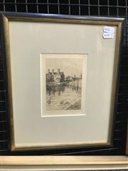 Sale 9024 - Lot 2041 - An Early Dry Point Etching of a Riverside Cottage and Countryscape, 32 x 27cm (frame)
