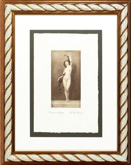 Sale 9080J - Lot 163 - Classical style print (The Snake Charmer) in rope twist frame, framed size 84 x 67cm