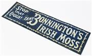 Sale 9054E - Lot 3 - An early C20th USA made pressed tin enamel sign for Bonningtons Irish Moss Stop that cough Powell, Adelaide. 13.5 x 45.5cm