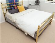 Sale 9066H - Lot 60 - A brass bed head, foot, and supports in the art deco taste (base, mattress and bedding not included). W 153cm (outside of posts) L 2...