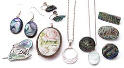 Sale 9124 - Lot 592 - VINTAGE SILVER SHELL JEWELLERY AND A ROSE CAMEO, an oval, rectangular and fern leaf with kiwi NZ brooches, pair of round, oval and c...